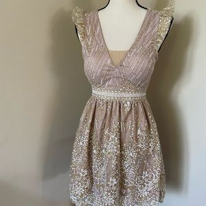 Hello Molly prom gold/beige dress size XS